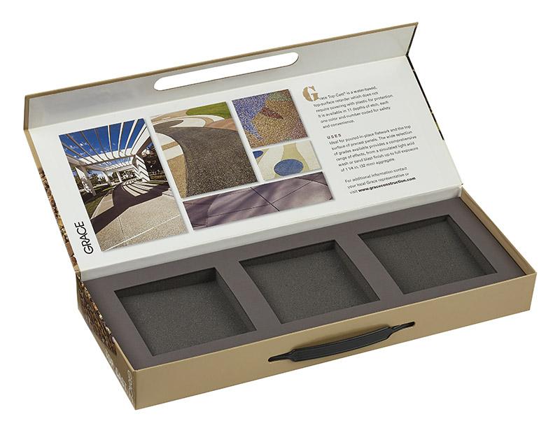 Turned edge sample box with foam interior
